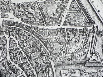 Frankfurt city map 1628, showing the curved Judengasse. (Wikipedia)