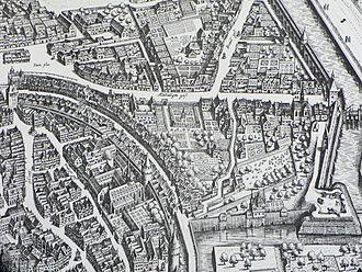 Frankfurter Judengasse - Frankfurt city map 1628, showing the curved Judengasse.