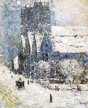 "Calvary Church (Manhattan) - ""Calvary Church in the Snow"" (1893) by Childe Hassam"