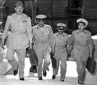 Free Officers Movement (Egypt) - Abdel Latif Boghdadi (left) Gamal Abdel Nasser (center left) Salah Salem (center right) Abdel Hakim Amer (right).