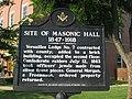 Freemasonry historical marker in Versailles, Indiana.jpg