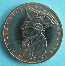 Commemorative 5-DM coin designed by Carl Vezerfi-Clemm and issued by the Federal Republic of Germany on the 200th anniversary of Frederick the Great's death (1986) (Source: Wikimedia)