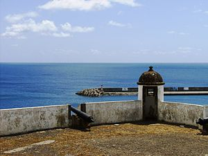 Fort of São Brás (Vila do Porto) - The bartizan looking out towards the harbour and marina