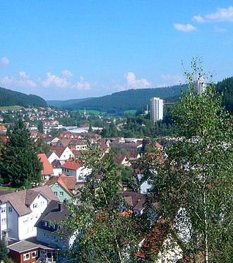 Furtwangen im Schwarzwald - Aerial view of the inner city
