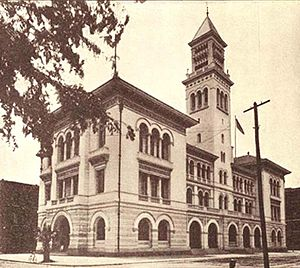 Tomochichi Federal Building and United States Courthouse - The courthouse in 1899, prior to renovations which more than doubled its size.