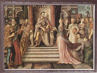 Lucas de Heere - Visita de la reina de Saba a Salomón, 1559