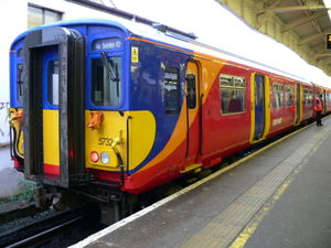 South West Trains - A Class 455 suburban unit at Wimbledon. These were used on inner suburban services.