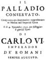 Georg Reutter - Il palladio conservato - titlepage of the libretto - Vienna 1735.png