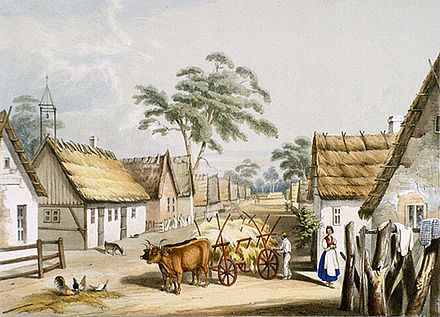 Street scene of Klemzig which was the first settlement of German emigrants to Australia in 1837 George French Angas - Klemsic, 1846.jpg