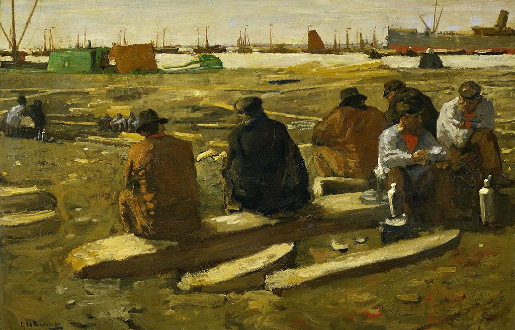 Déjeuner au chantier de construction Van Diemenstraat à Amsterdam - Toile de Breitner au Rijksmuseum.