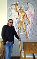 Georgi Kostadinov Gekos in 2012, working on the painting Archangel Michael..jpg
