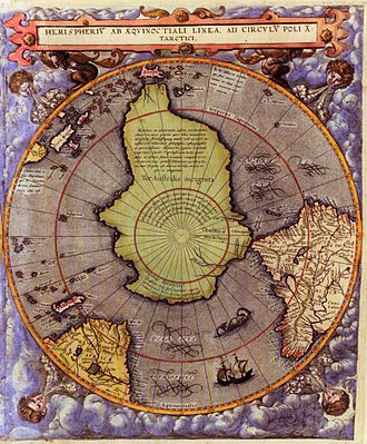 Gerard de Jode - The Southern hemisphere. The maps were published in an atlas by Cornelis de Jode Speculum Orbis Terrae