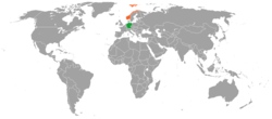 Map indicating locations of Germany and Norway