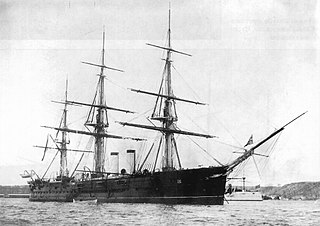 Russian cruiser <i>Gerzog Edinburgski</i> armoured cruiser built for the Imperial Russian Navy, launched in 1875