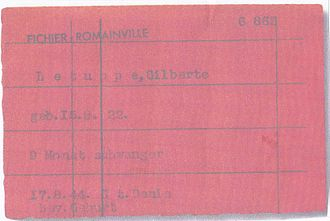 Christiaan Lindemans - Gilberte Letuppe's record card, fort de Romainville, circa August 1944, the German military abbreviation, bev which is short for Bevollmächtigter and typed next to Geburt (birth), can be translated into English by authorized agent or Plenipotentiary