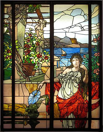 Theater an der Wien - Stained glass window by Carl Geyling's Erben, made around 1900 for the theatre