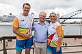 Glenn McGrath, Peter Beattie and Leisel Jones at the Queen's Baton Relay, Sydney, Australia, 2018-02-03.jpg