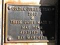 Golden Jubilee Plaque, gates of St. Michael's - geograph.org.uk - 1192767.jpg