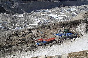 Gorakshep - Looking down on Gorak Shep, Khumbu behind it