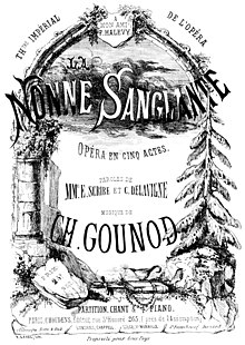 Description de l'image Gounod - La nonne sanglante - title page of the piano score - Paris 1855.jpg.