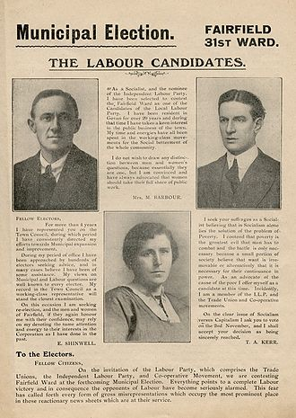 Election address - Election address of three Labour candidates, Mary Barbour, Manny Shinwell, and Tom Kerr, for the Govan Fairfield ward in the Glasgow Municipal elections of 1920.