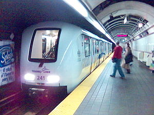 Granville station (SkyTrain) - A train arriving at Granville Station's westbound platform.