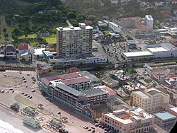 An aerial view of Muizenberg taken from the East.
