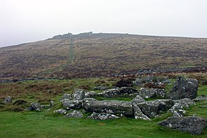 Grimspound - Grimspound, with Hookney Tor on the horizon