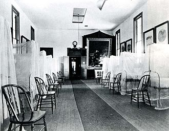 The Gross Clinic - The Gross Clinic on display in the U.S. Army Post Hospital at the 1876 Centennial Exposition.
