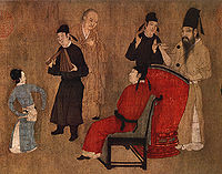 Handscroll detail of a Chinese percussionist playing a drum for a dancing woman, from a 12th century remake of Gu Hongzhong's 10th century original, Song Dynasty.
