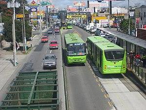 Transmetro - Buses of Transmetro at Mariscal station in November 2007