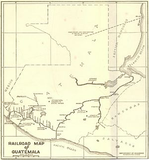Northern Railroad of Guatemala - Guatemala rail map from 1925.