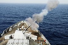 Gun firing trials of INS Kochi