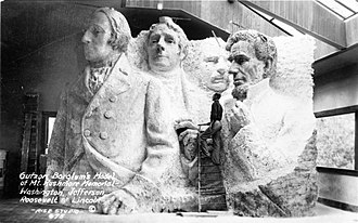 Mount Rushmore - A model at the site depicting Mount Rushmore's intended final design