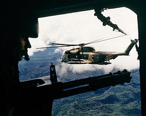 Sikorsky MH-53 - A HH-53 seen from the gunner's position of a helicopter over Vietnam in October 1972