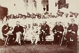 Henry Daly -  Jayajirao Scindia of Gwalior State, General Sir Henry Daly (Founder of The Daly College), with British officers and Maratha nobility in Indore, Holkar State,  ca 1879.
