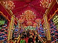 HK TST night Harbour City front entrance indoor stairs interior Xmas trees Nov-2013.JPG