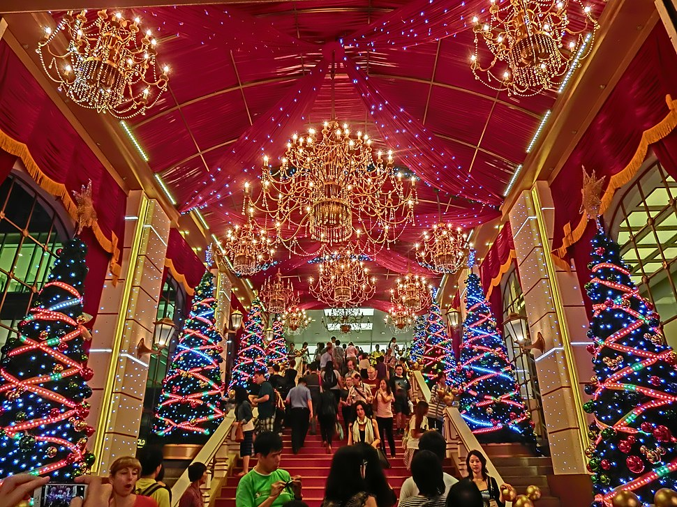 HK TST night Harbour City front entrance indoor stairs interior Xmas trees Nov-2013