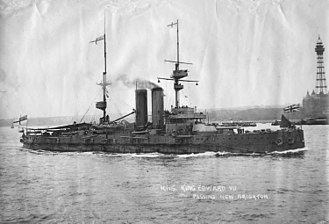 HMS King Edward VII - King Edward VII passing New Brighton, Canada