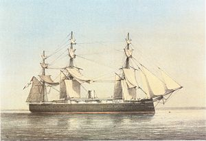 Arthur Hood, 1st Baron Hood of Avalon - Image: HMS Monarch (1868) William Frederick Mitchell