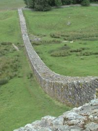 Hadrian's Wall, a fortification in Northern England.