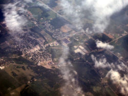 Hagerstown from the air, looking northeast.
