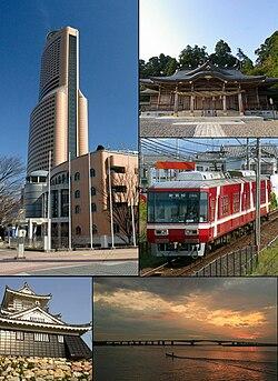 From top left: Act City Hamamatsu, Akihasan Hongū Akiha Jinja, Enshu Railway Line, Hamamatsu Castle, Hamana Ōhasi