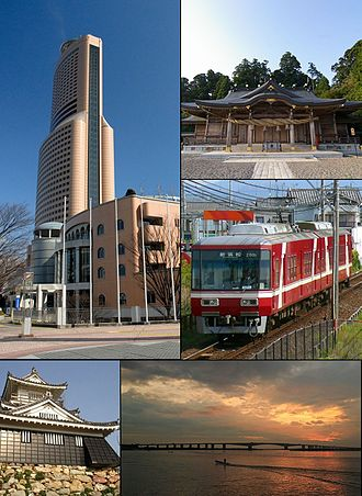 Hamamatsu - From top left:Act City Hamamatsu, Akihasan Hongū Akiha Jinja, Enshu Railway Line, Hamamatsu Castle, Hamana Ōhasi