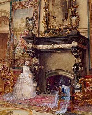 Hannah Primrose, Countess of Rosebery - Hannah de Rothschild as a young woman dwarfed by the splendours of Mentmore. The fireplace was originally designed by Rubens for his house in Antwerp.