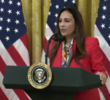 Harmeet Dhillon speaks at the White House's Social Media Summit (cropped).png