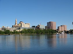 Hartford's downtown seen from across the Connecticut River