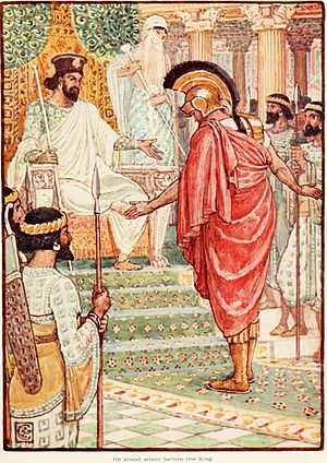 Artaxerxes I of Persia - Themistocles stands silently before king Artaxerxes