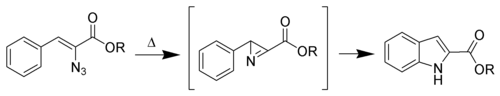 Hemetsberger Indole Synthesis Scheme.png