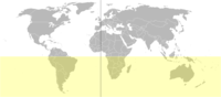 Το Νότιο Ημισφαίριο απεικονίζεται εδώ με κίτρινο χρώμα (δεν εμφανίζεται η Ανταρκτική)